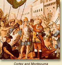 Cortés and Montezuma meet